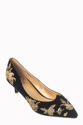 Banned Apparel Magic Dance - Black Velvet with Gold Embroidery Pumps with a Kitten Heel
