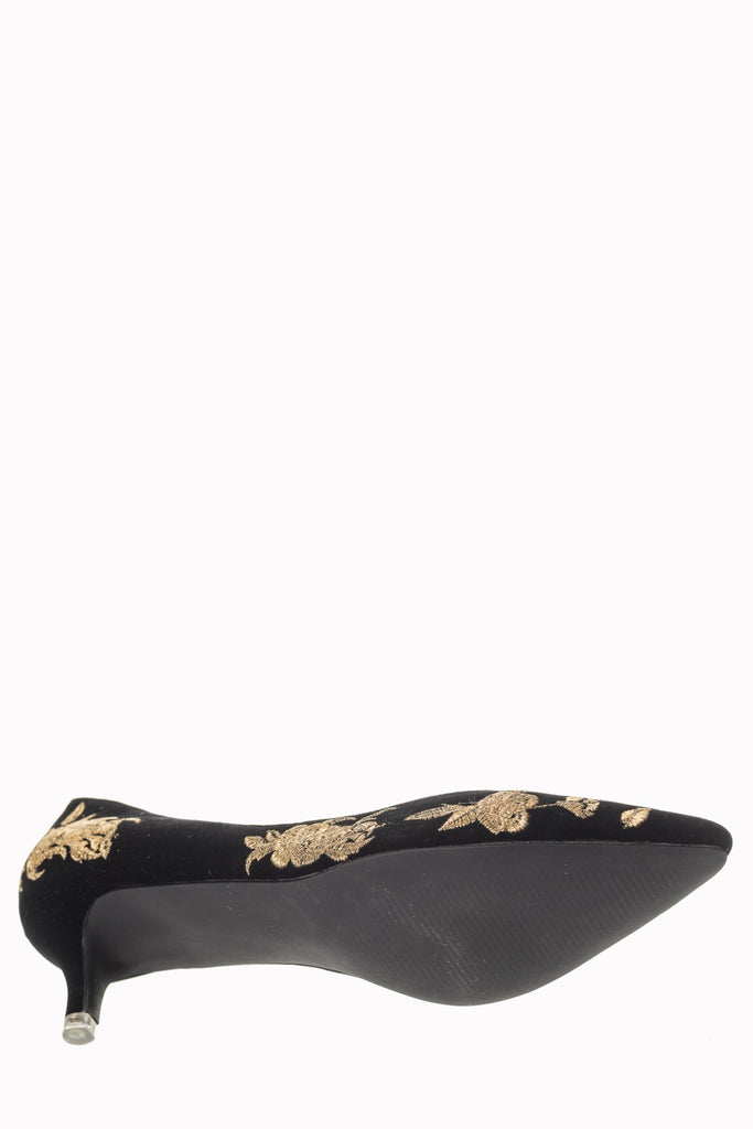 80866845edf0 ... Banned Apparel Magic Dance - Black Velvet with Gold Embroidery Pumps  with a Kitten Heel ...