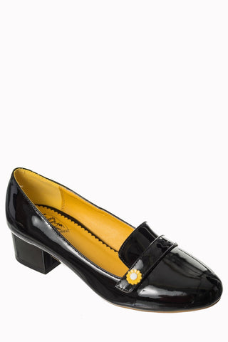 Banned Apparel Little Wonder - Black Patent 1960's Block Heel Loafer - Kit'n'Heels