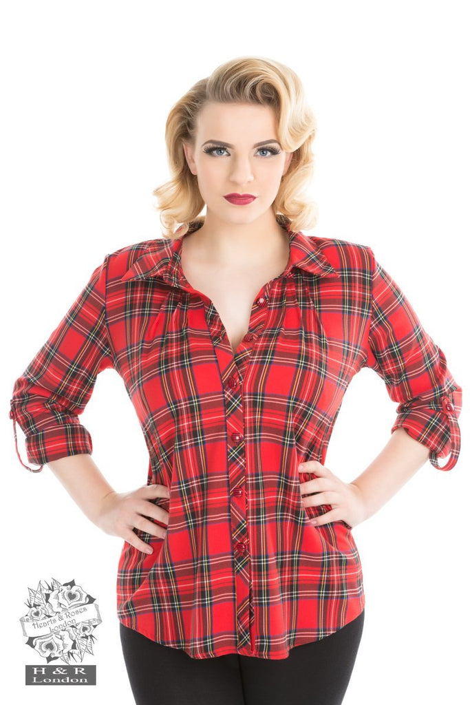 Hearts and Roses Red Tartan Plaid Shirt - Kit'n'Heels