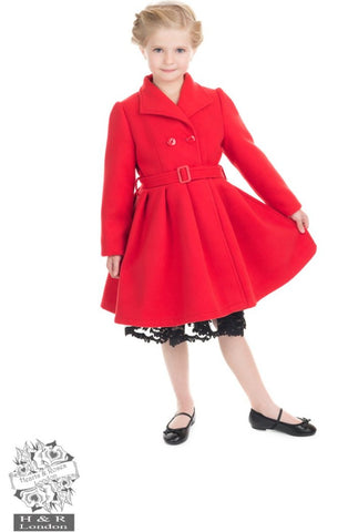 Red Vintage Kids Swing Coat - Hearts and Roses - Kit'n'Heels