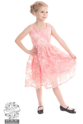 Pink Chantilly Lace Kids Dress - Hearts and Roses London
