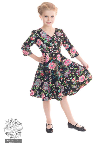 Romantic Bloom 3/4 Sleeve Swing Dress - Kids - Hearts and Roses London