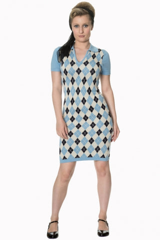 Banned Apparel High Life Knit Dress in Pale Blue, Navy and Cream