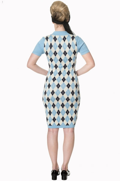 Banned Apparel High Life Knit Dress in Pale Blue, Navy and Cream - Kit'n'Heels