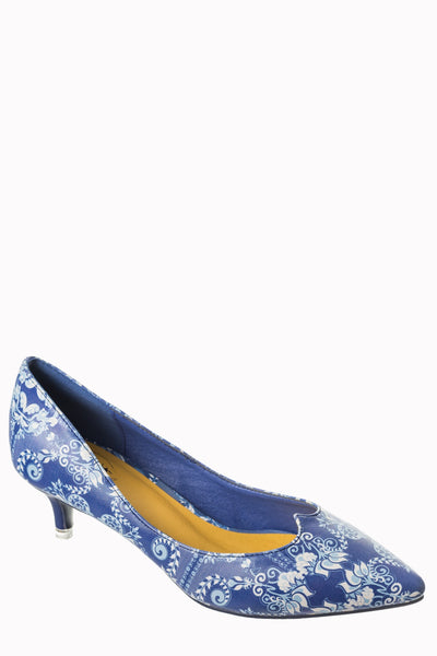 Banned Apparel Venus - Kitten Heel Pump in Blue and White