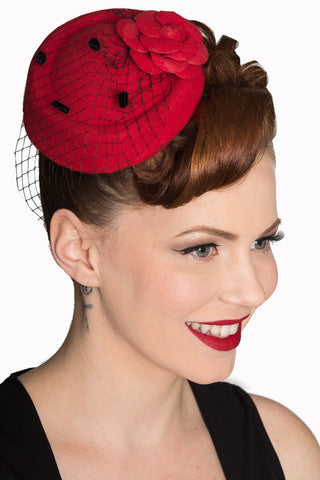 Red Fascinator with Black Netting - Kit'n'Heels