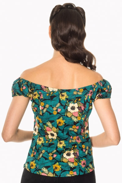 Banned Apparel Tropical Print Rockabilly Top