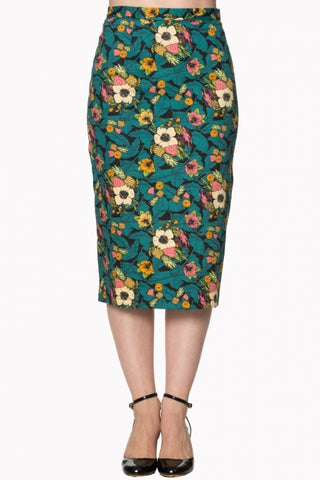 Banned Apparel Green and Black Floral Pencil Skirt