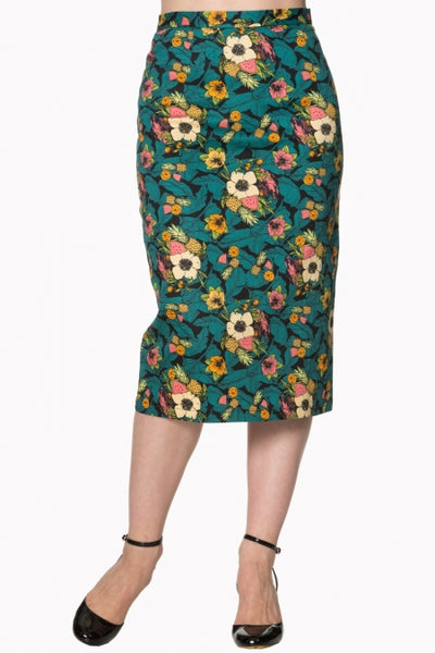 Banned Apparel Green and Black Floral Pencil Skirt - Kit'n'Heels