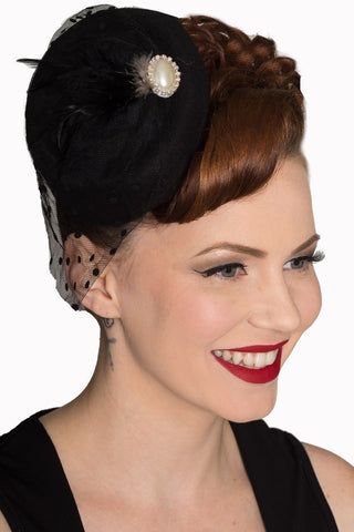 Black Fascinator with Black Netting and Feather and Faux Pearl Detail - Kit'n'Heels