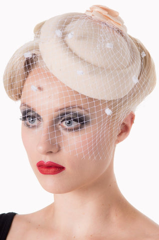 Banned Apparel Off White Fascinator with White Netting