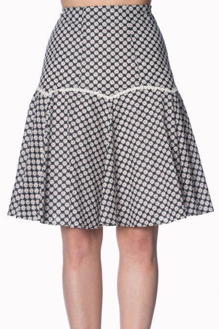 Banned Apparel Ditsy Daisy A-Line Skirt