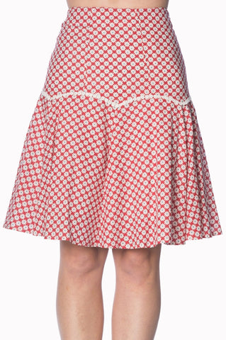 Banned Apparel Ditsy Daisy A-Line Skirt in Red