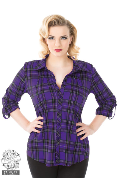 Hearts and Roses Purple Tartan Plaid Shirt - Kit'n'Heels