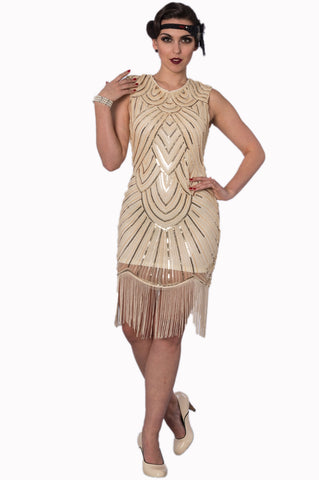 Banned Apparel Great Gatsby Dress in Cream with Gold Sequins