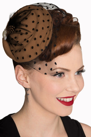 Beige Fascinator with Black Netting and Feather and Faux Pearl Detail - Kit'n'Heels