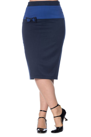 Banned Apparel Colour Block Pencil Skirt in Navy - Kit'n'Heels