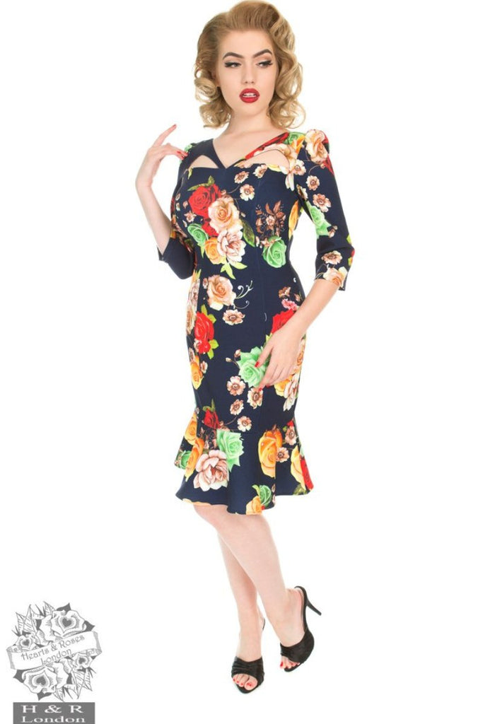 Hearts and Roses Navy Peplum Wiggle Dress - Kit'n'Heels