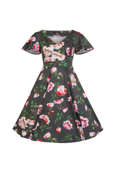 Hearts & Roses Amour - Little Girl's Swing Dress - Kit'n'Heels