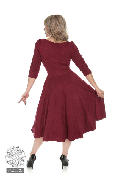Hearts & Roses Wendy Faux Suede Swing Dress in Wine