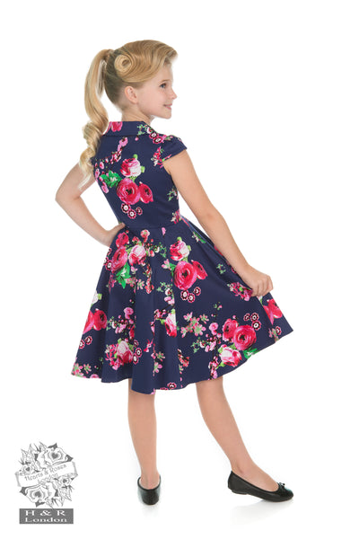 Hearts and Roses - LIttle Girl's Midnight Garden Floral Tea Dress - Kit'n'Heels