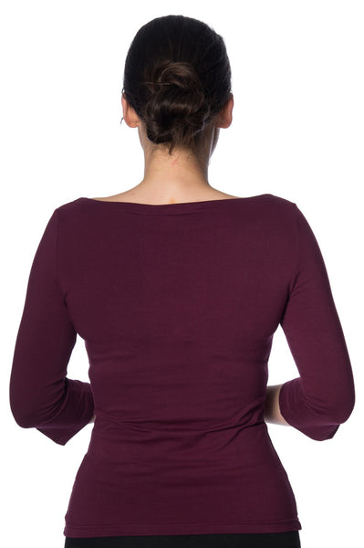 Banned Apparel Oonagh Top in Burgundy - Kit'n'Heels