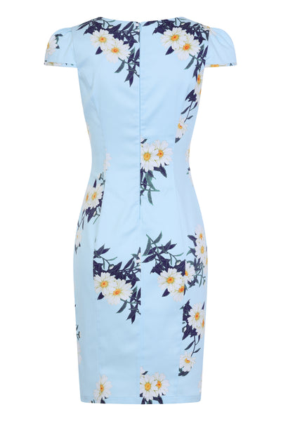 Vintage Blue Daisy Wiggle Dress