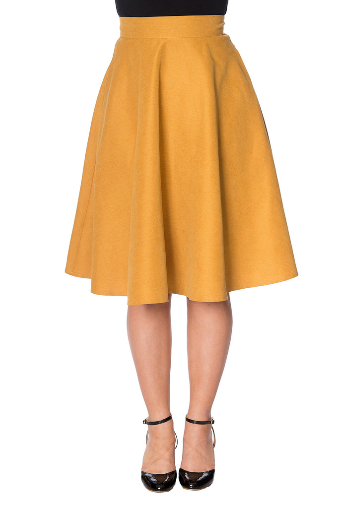 Sophisticated Lady Swing Skirt in Mustard