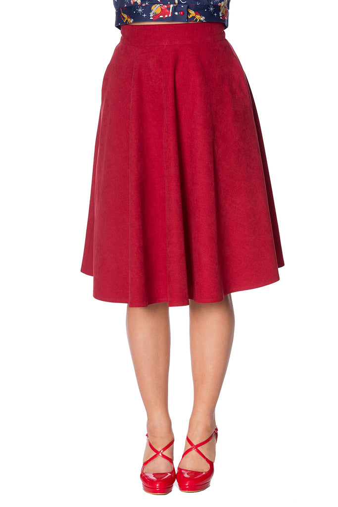 Sophisticated Lady Swing Skirt in Red