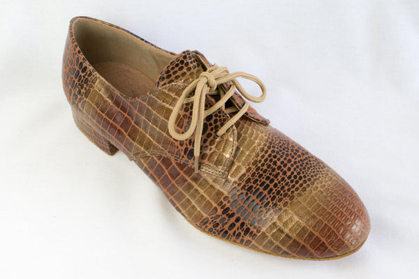 Ian - Derby Style ballroom dance shoe in a faux crocodile pattern