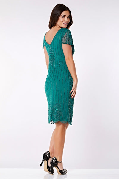 Downton Abbey Flapper Dress in Teal