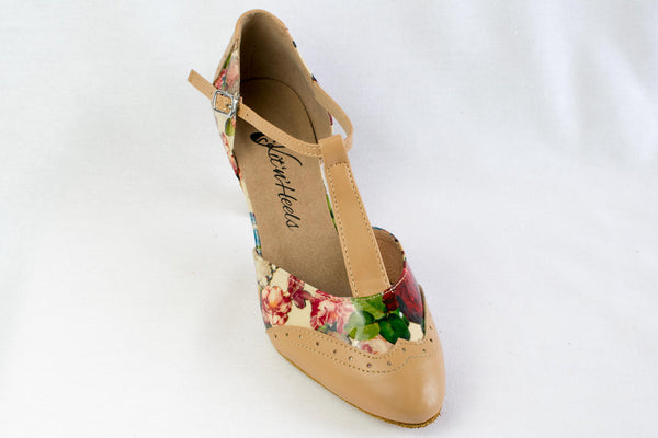 "Emma - Tan leatherette and floral patent leather ballroom dance shoe with a 2.2"" Heel"