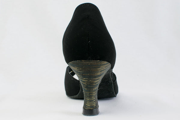 "Laura - Black Nubuck and black and gold fabric latin dance shoe. Narrow Fit 2.2"" Heel - Kit'n'Heels"
