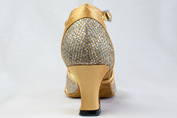 Tegwen - Ladies Rainbow Sparkle and Gold Satin Wide Fitting Latin Dance Shoes