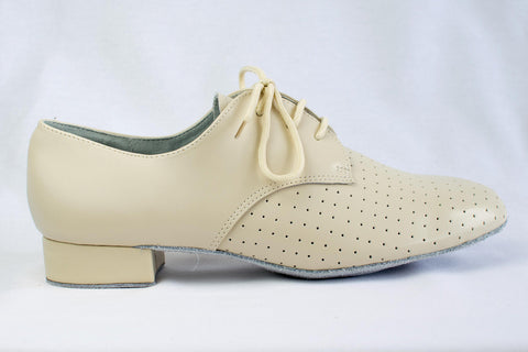 James - Man's Beige leather Ballroom Dance Shoe - Kit'n'Heels