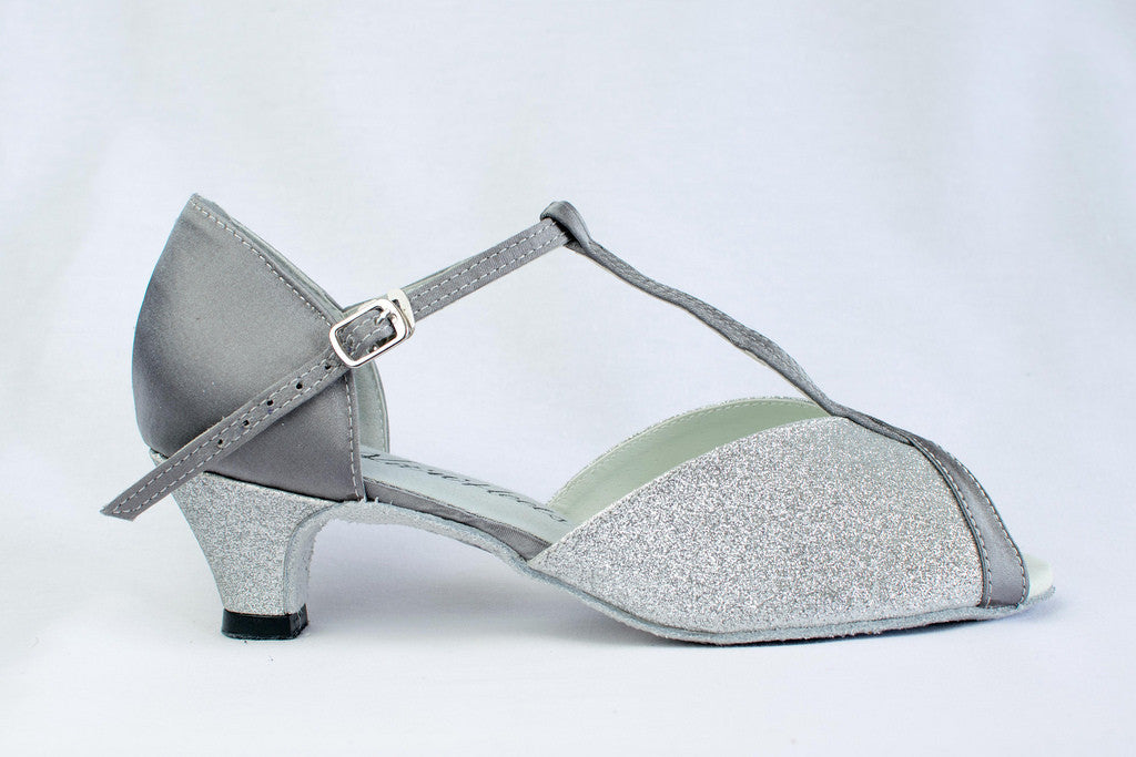 "Francesca - Silver wide fitting ladies latin shoe with a 2"" heel"