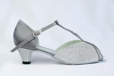 "Francesca - Silver wide fitting ladies latin shoe with a 2"" heel - Kit'n'Heels"