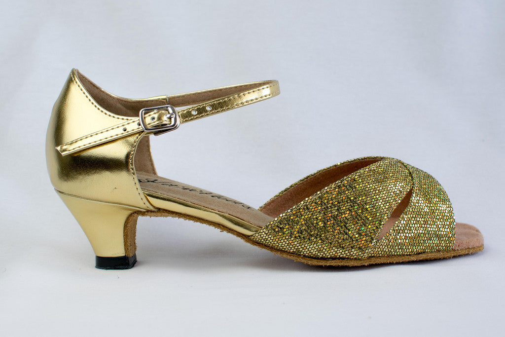 "Cecelia - Gold narrow fitting ladies dance shoe with a 2"" heel"