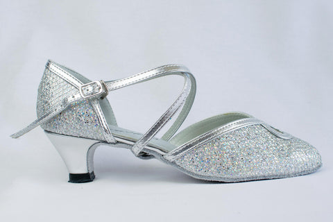 Ann - narrow fitting, sparkly silver ladies' ballroom dance shoes
