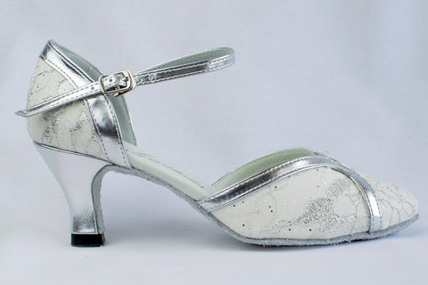 cd5d20764455 Colette - white and silver closed toe ladies  ballroom dance shoe