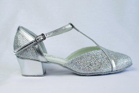Florence - Sparkly Silver, ladies' ballroom dance shoes - Kit'n'Heels