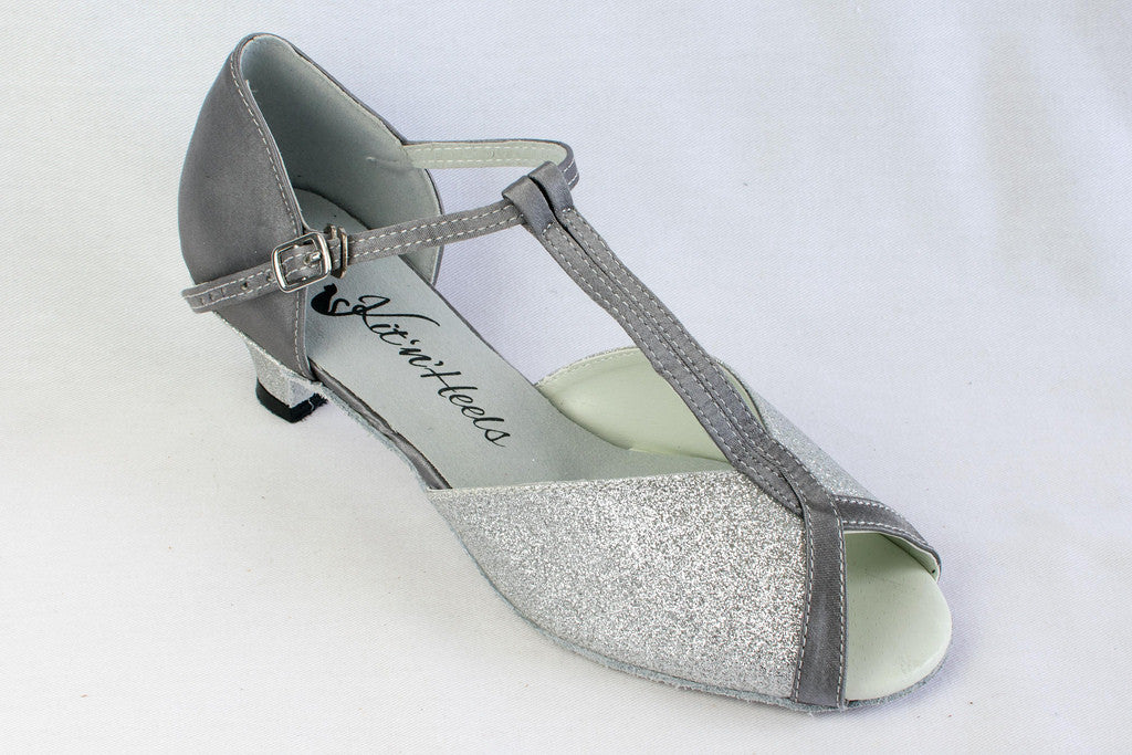 d3419133bb39 Francesca - Silver wide fitting ladies latin shoe with a 2