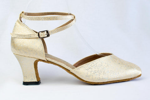Janty - Ladies' wide fitting, gold satin ballroom dance shoe - Kit'n'Heels