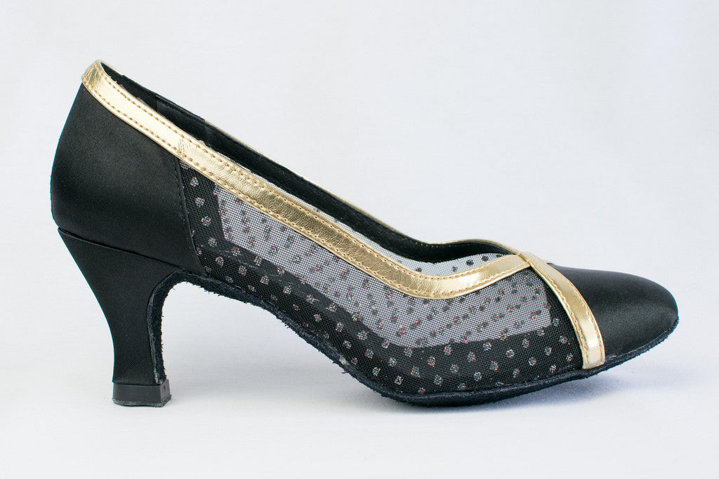 Pauline - Ladies' Black and Gold Ballroom Dance Shoes