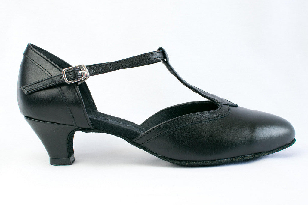 "Jane - Black leather practice shoe with 1.2"" heel"