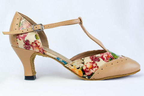 "Emma - Tan leatherette and floral patent leather ballroom dance shoe with a 2.2"" Heel - Kit'n'Heels"