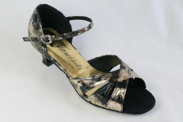 Eleanor - black and gold, ladies' latin dance shoes - Kit'n'Heels