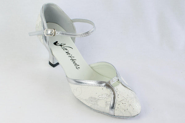 Colette - white and silver closed toe ladies' ballroom dance shoe