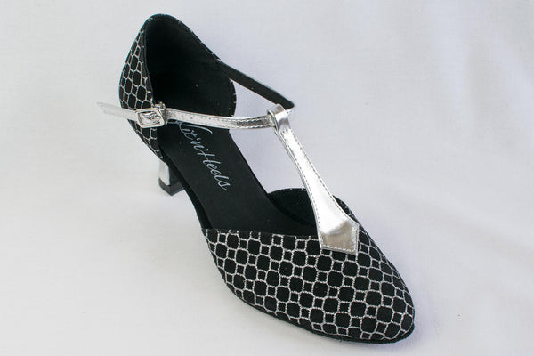 "Rita - Wide Fitting Black and silver wide fitting dance shoe 2.5"" heel - Kit'n'Heels"